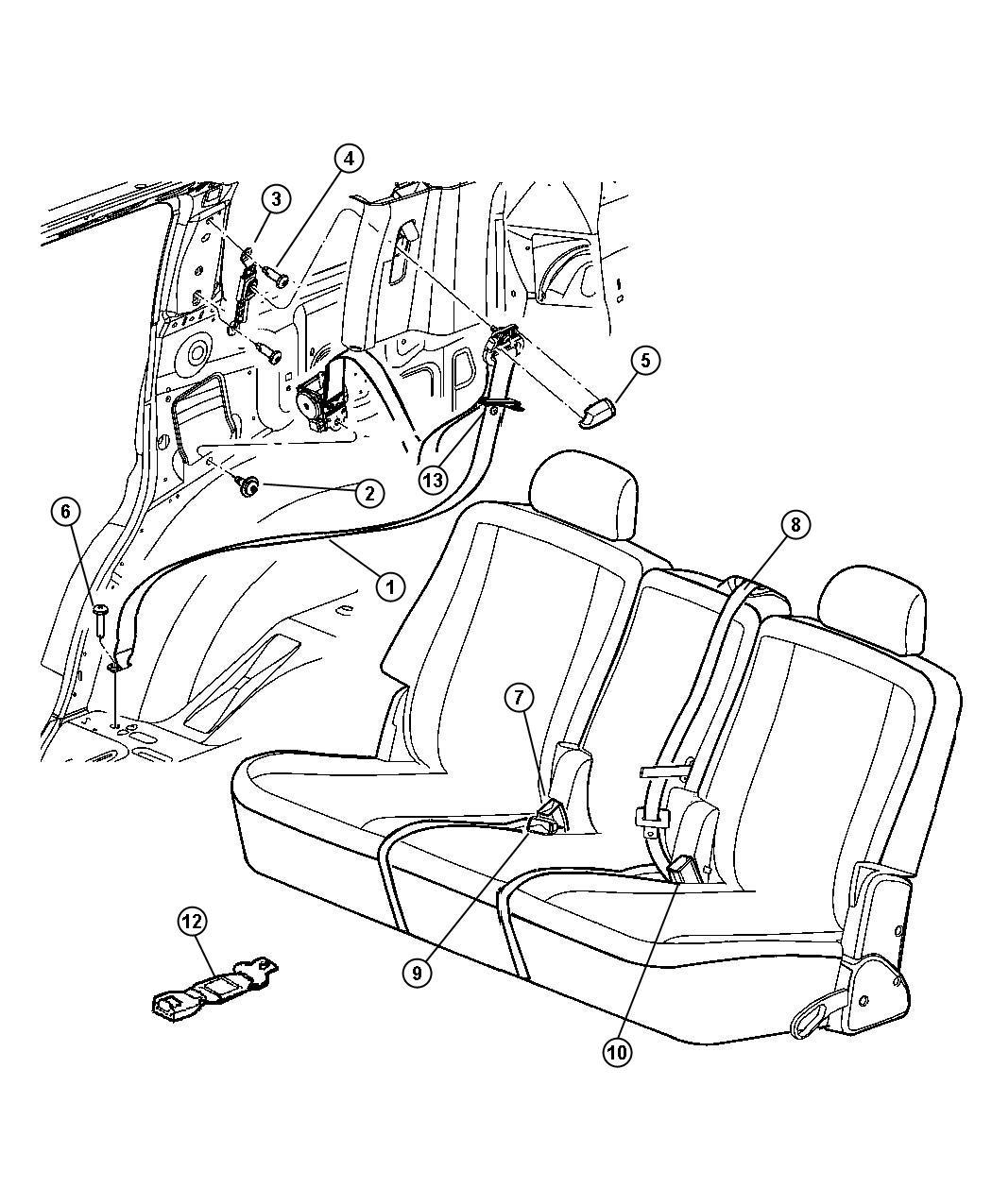 Dodge Durango Seat belt. Rear outer. Right. [j1]. Trim