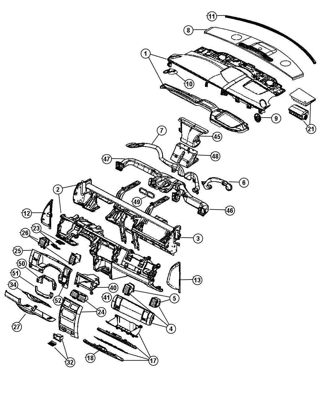 Dodge Durango Bezel. Instrument panel. Center. Trim: [all
