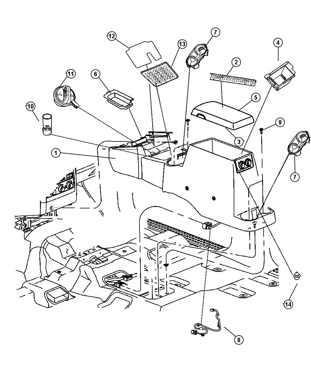 Dodge Durango Wiring. Console. Trim: [all trim codes