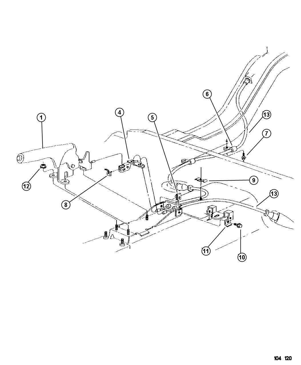 Dodge Ram Equalizer Parking Brake Cable Rear