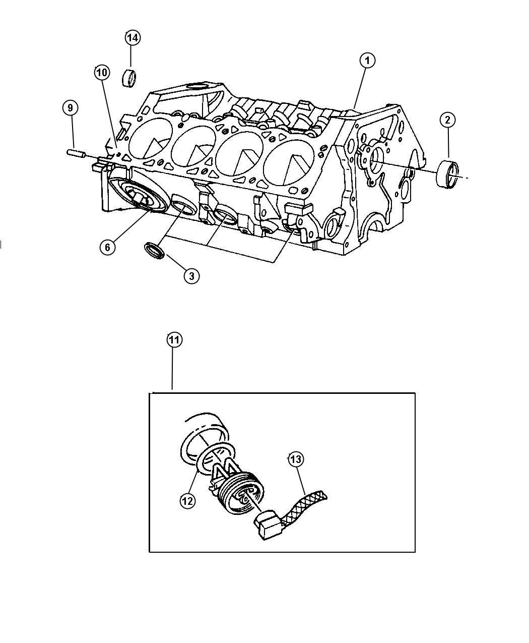 Dodge Dakota Plug. Cylinder block. Rubber, rubber style