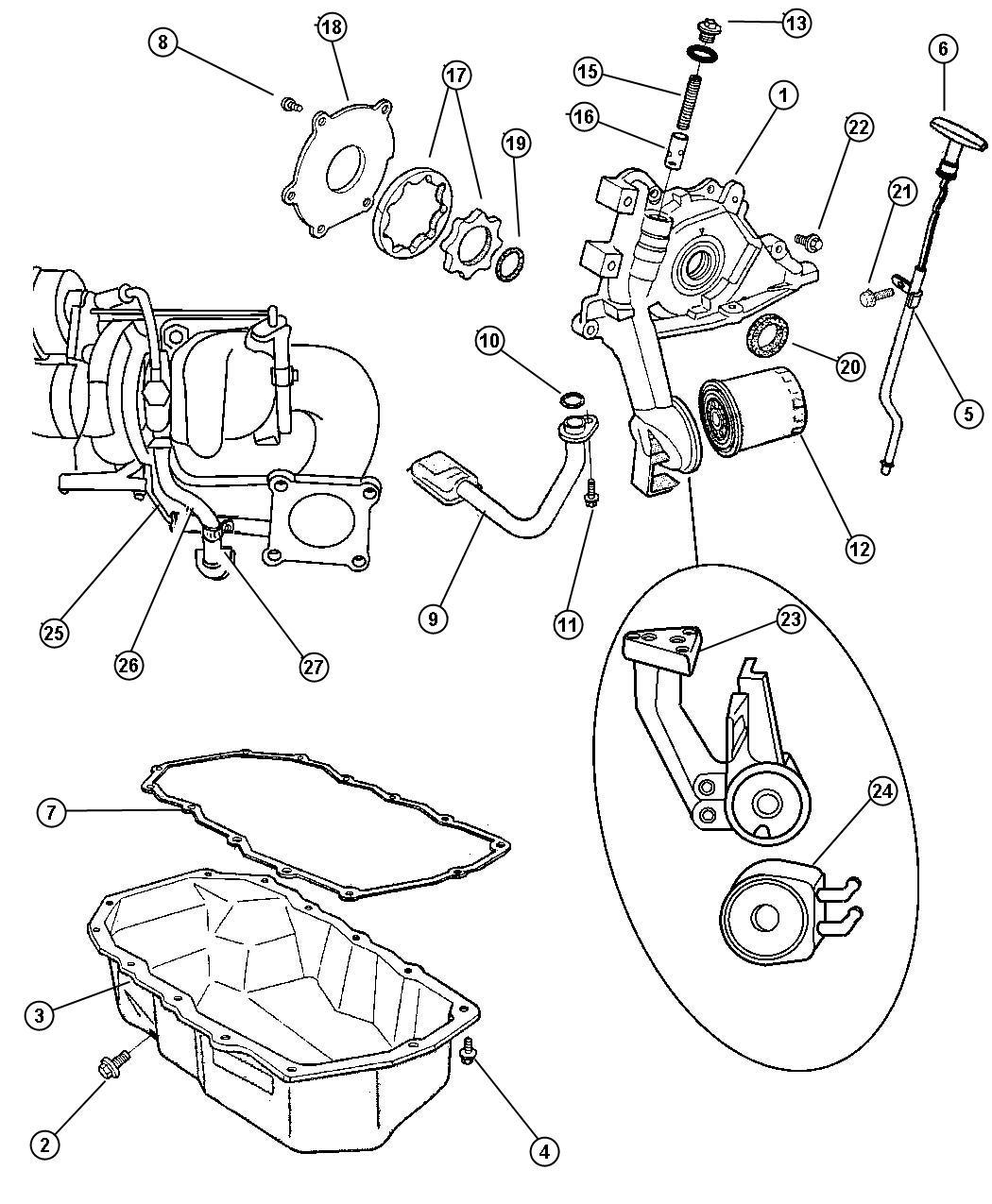 Dodge Caliber Gasket. Turbo oil drain pipe. Oil drain tube