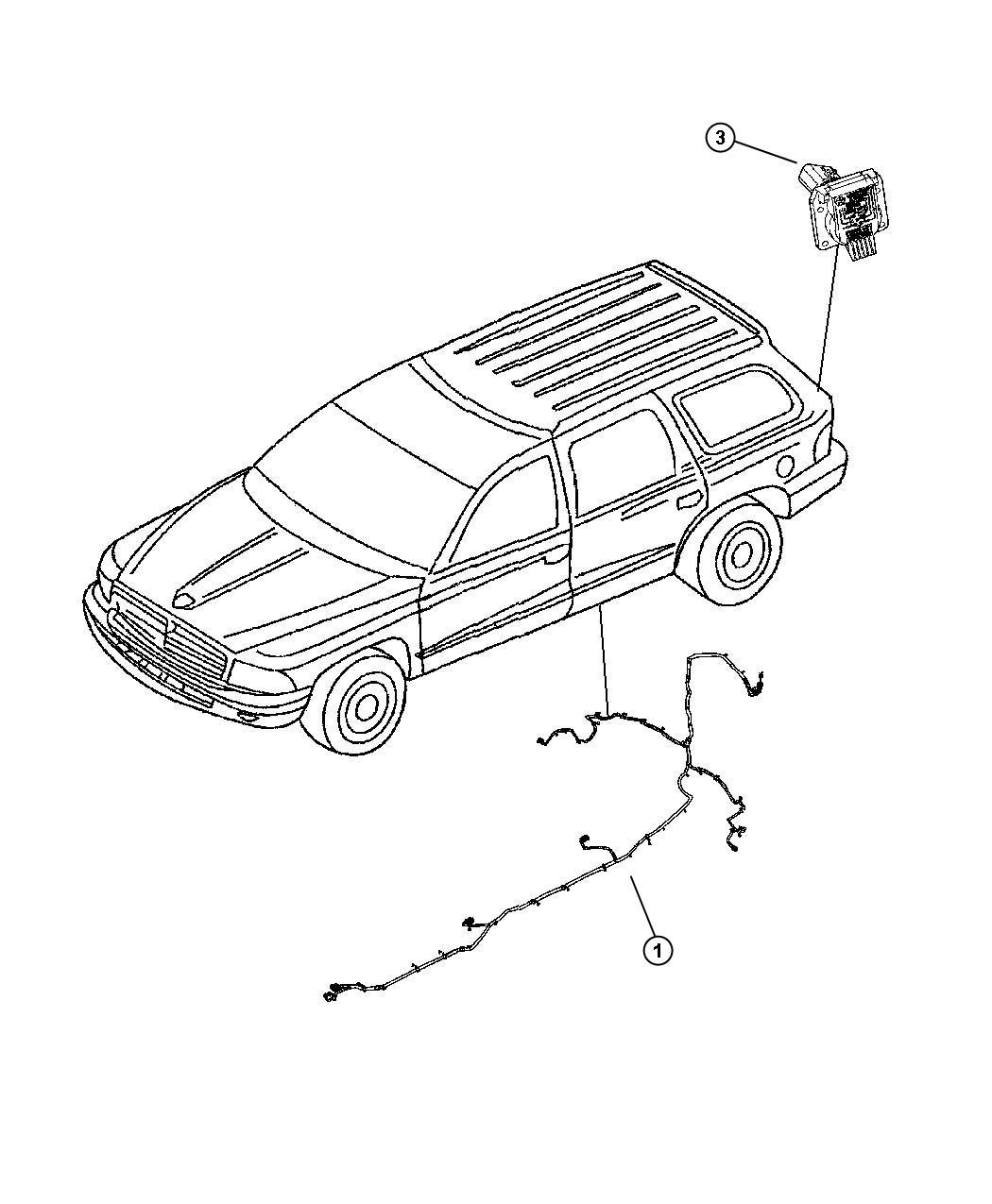 Dodge Durango Wiring. Trailer tow. Pigtail, ahc