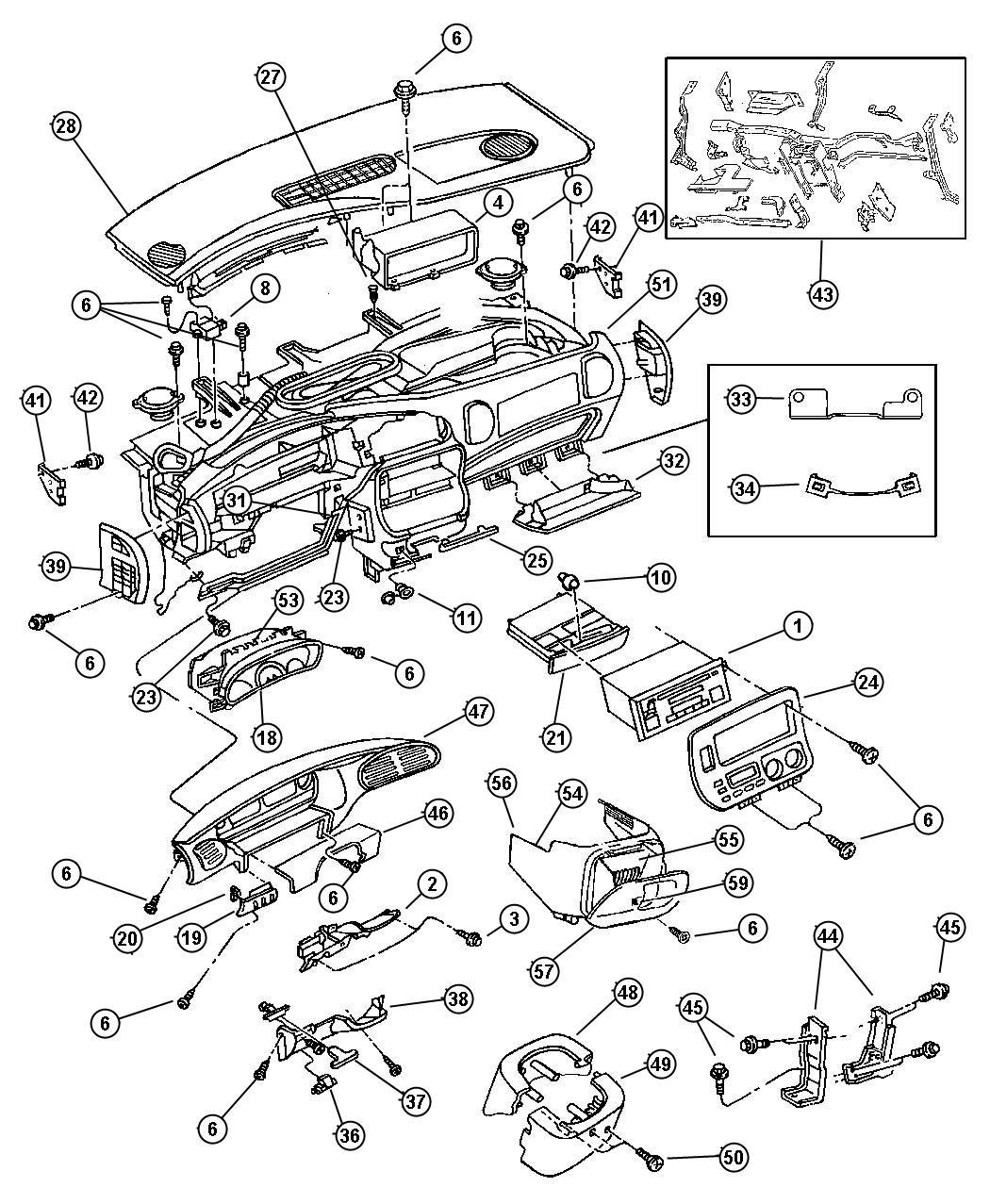 2000 Dodge Caravan SE 3.3L V6 Cover. Instrument panel