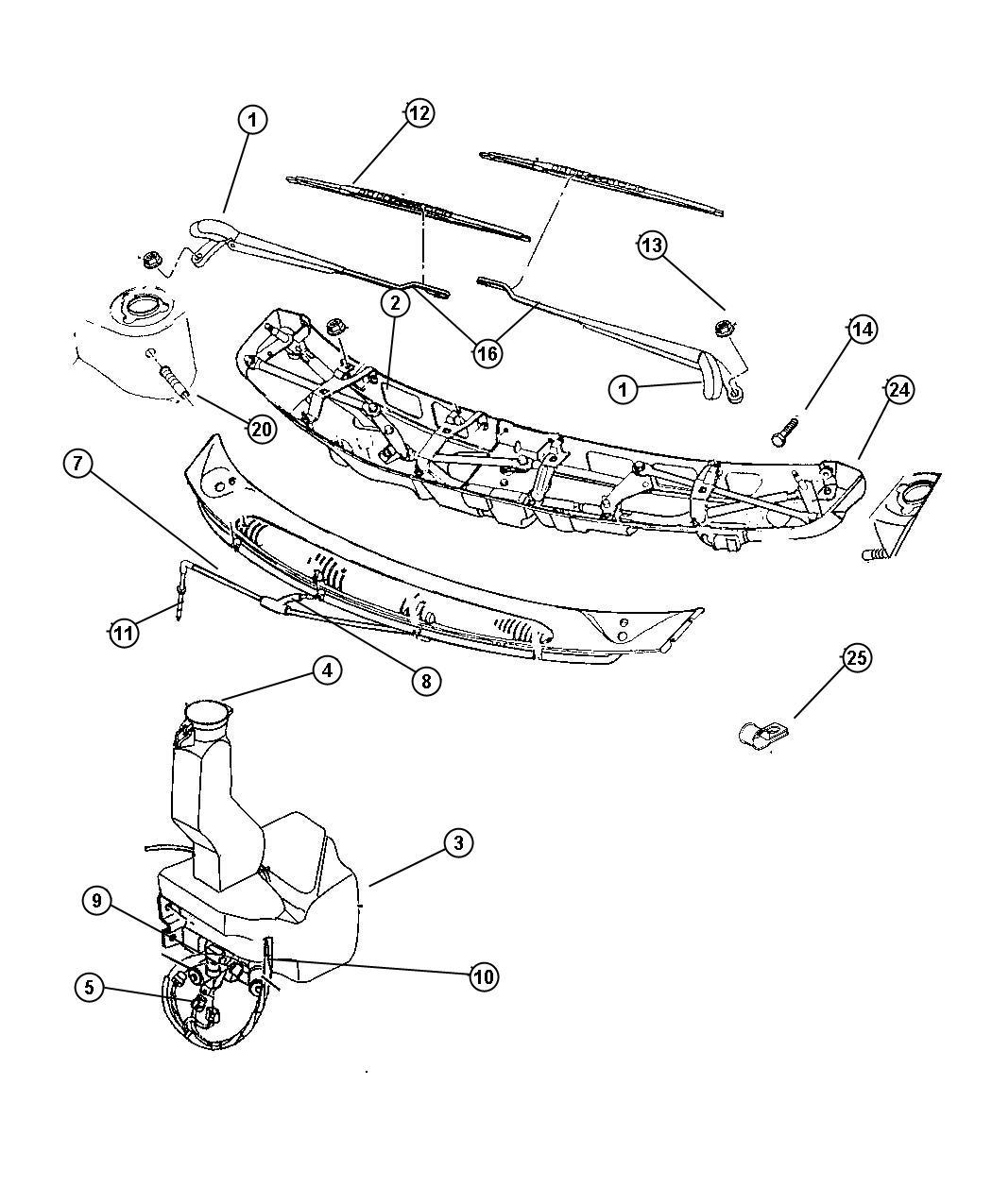 Dodge Grand Caravan Tube Right Wiper Drain Module Tube