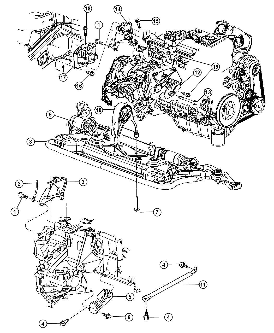 Chrysler Sebring Bracket. Torque reaction. Rear