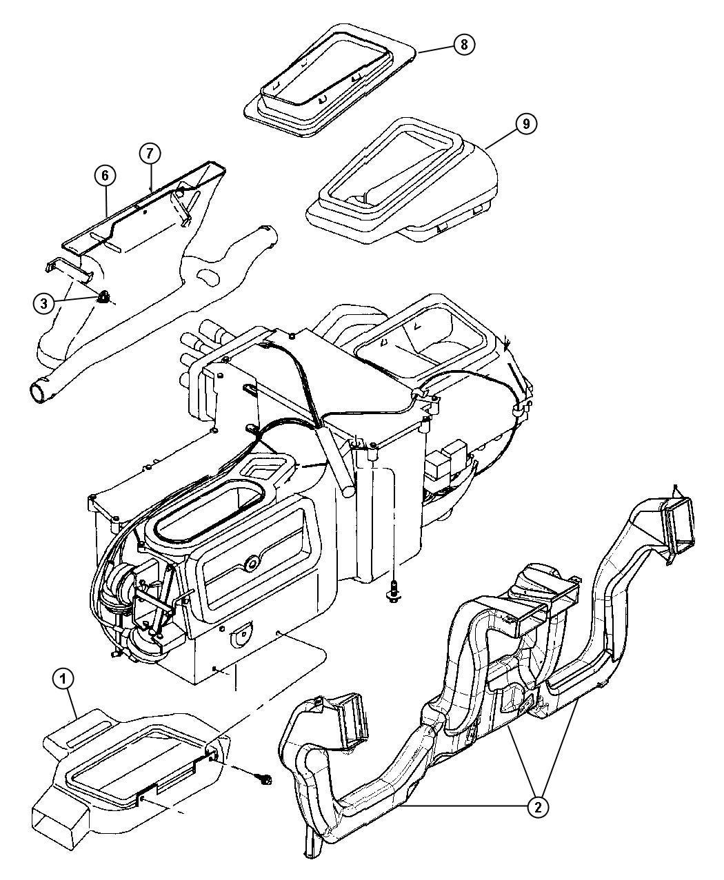 Jeep Wrangler Adapter. Demister. Right. Instrument panel