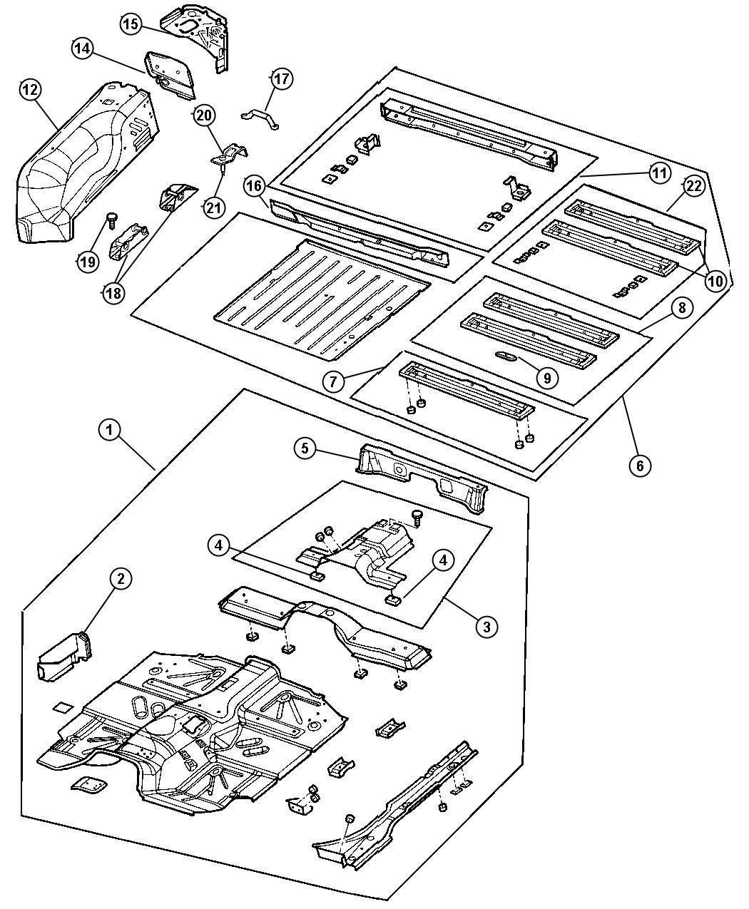 Jeep Wrangler Crossmember Rear Floor