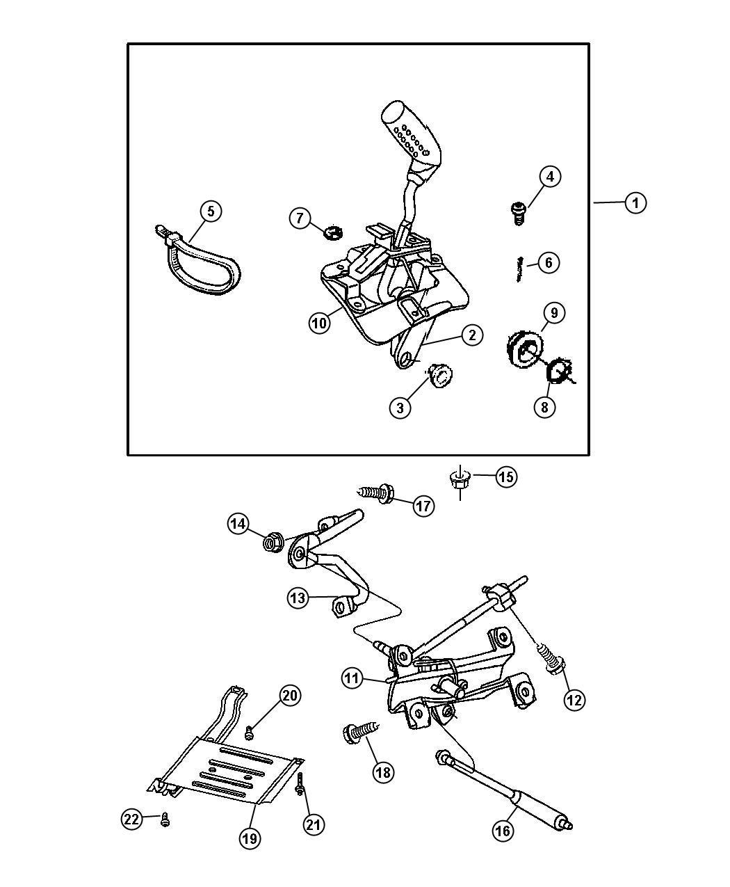Jeep Wrangler Housing. Shift lever. Controlsskid