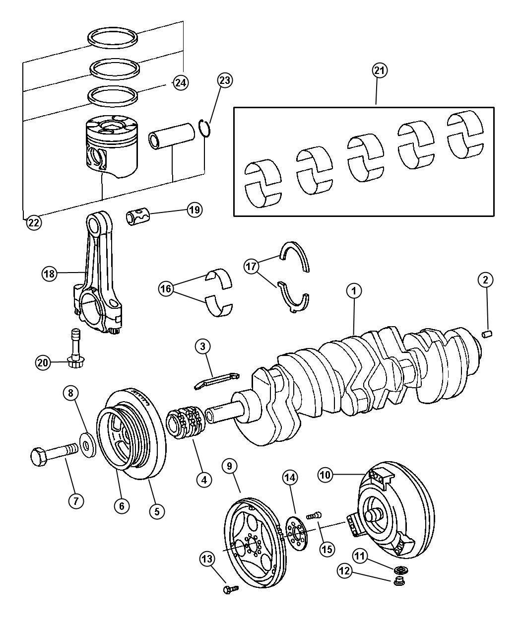 2005 Dodge Sprinter 2500 Crankshaft and Pistons.