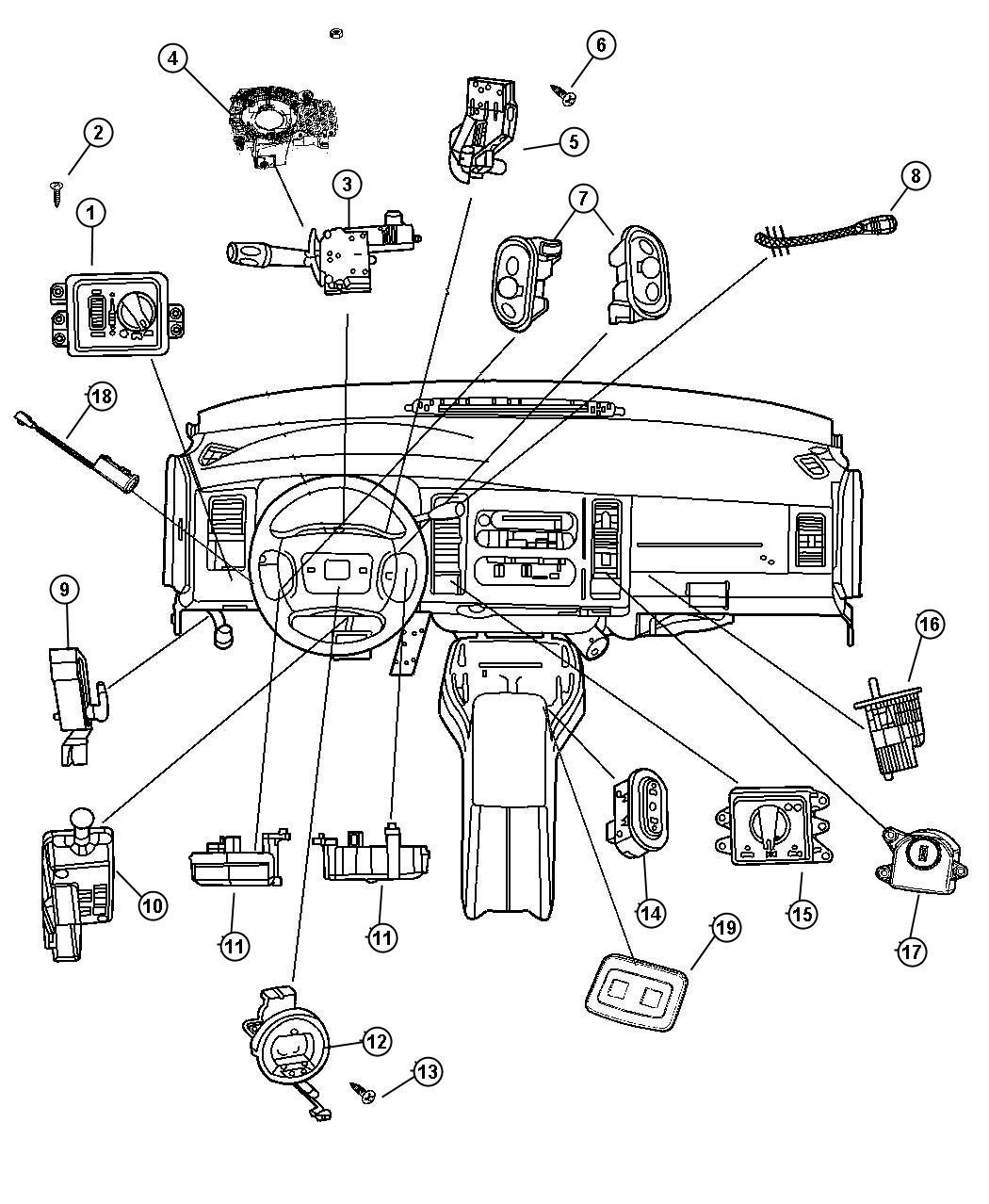2004 Dodge Ram 1500 Switch. Ignition. Intermittentsteering