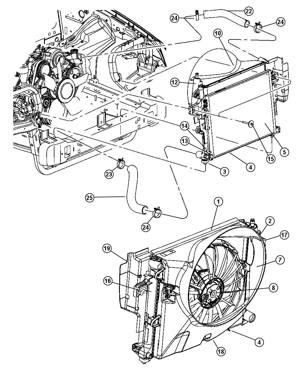 Jeep Grand Cherokee Label. Belt routing. [engine cooling