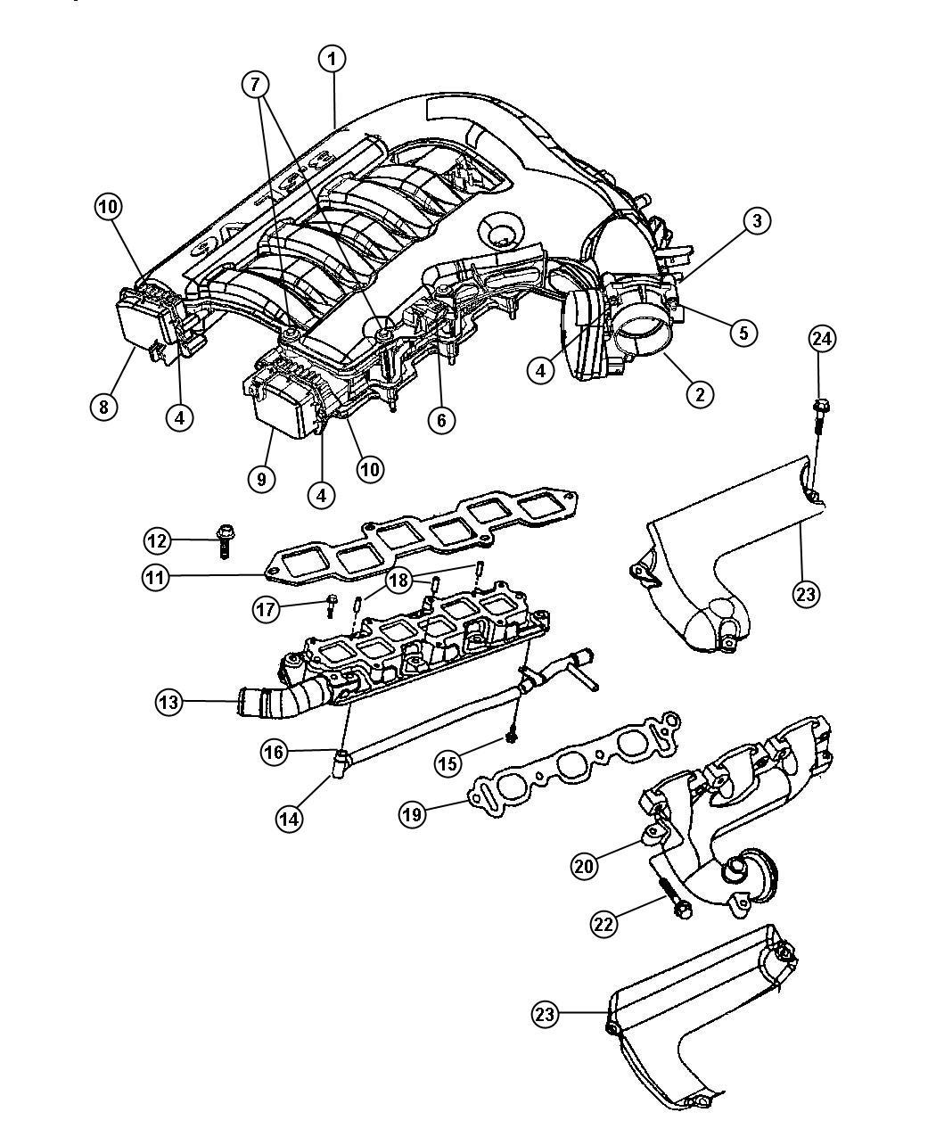 Chrysler 300 Gasket Intake Plenum Intake Manifold Plenum