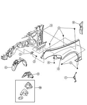 Dodge Grand Caravan Fender Front Left Holes, antennaside, antena, mountedlens, amber