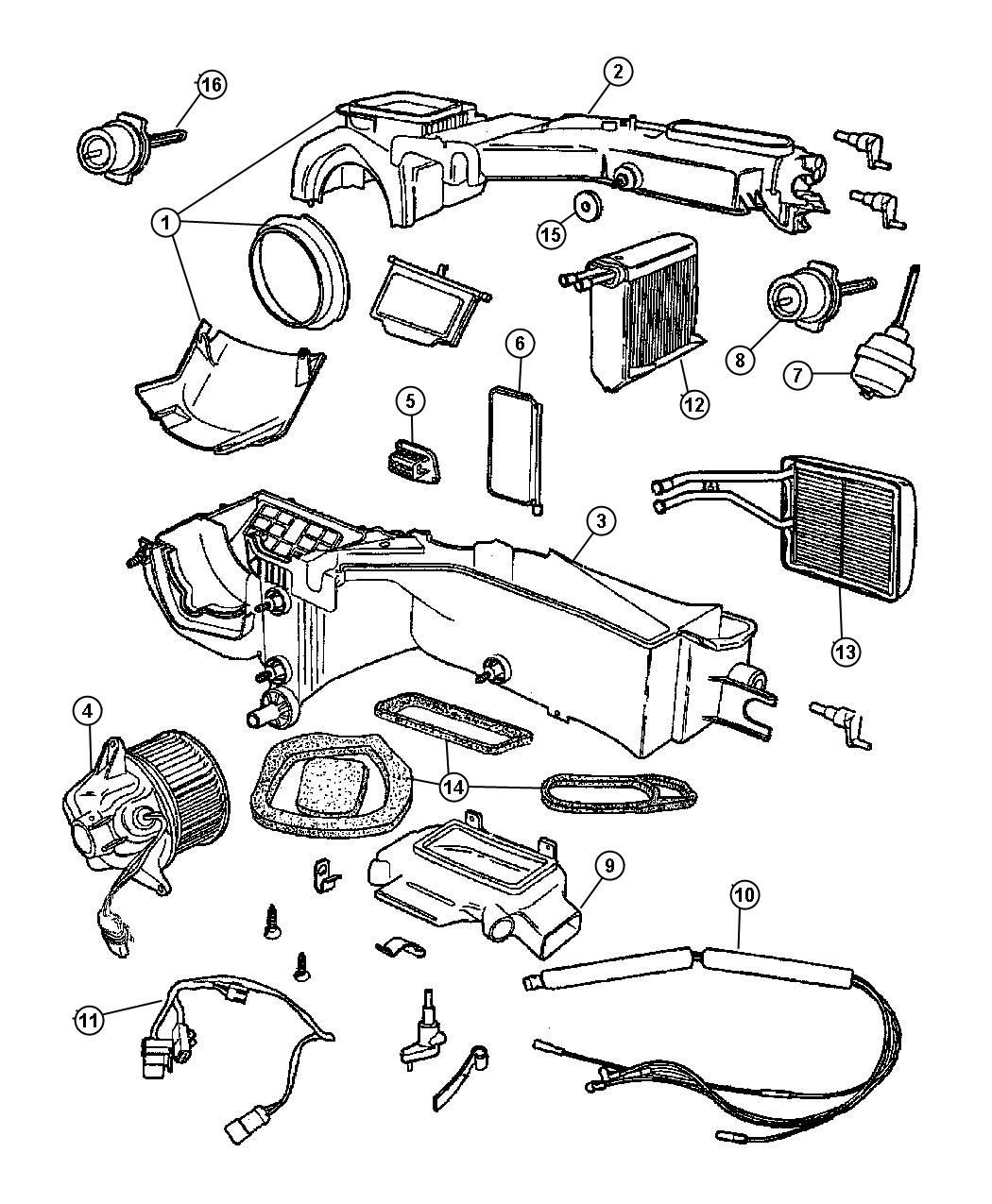 2013 Jeep Wrangler Heater kit. Heater core assembly