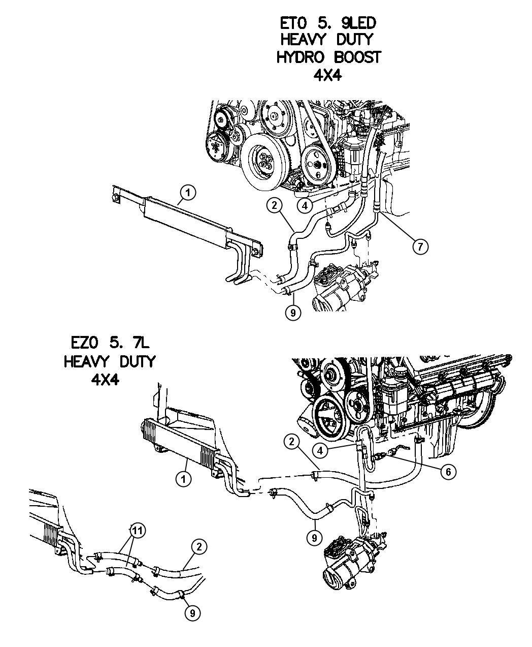 2004 Dodge Ram 2500 Hose. Power steering pressure
