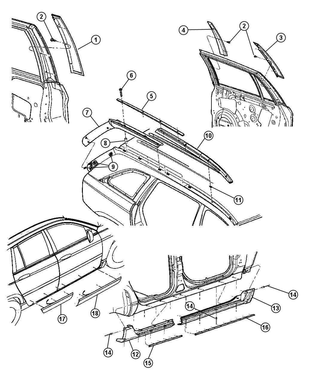 Chrysler Pacifica Weatherstrip. Rear door sill secondary