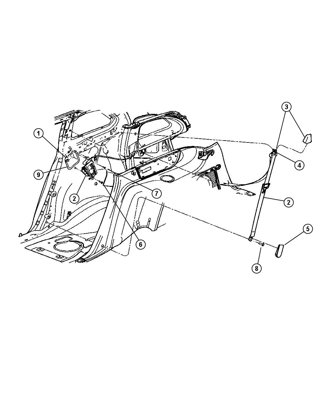 Chrysler Pacifica Seat belt. Rear. Left. [dv]. Trim: [all
