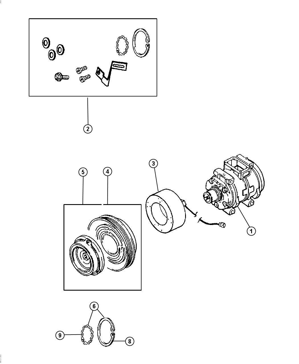 Dodge Magnum Compressor. Air conditioning. Magnetti