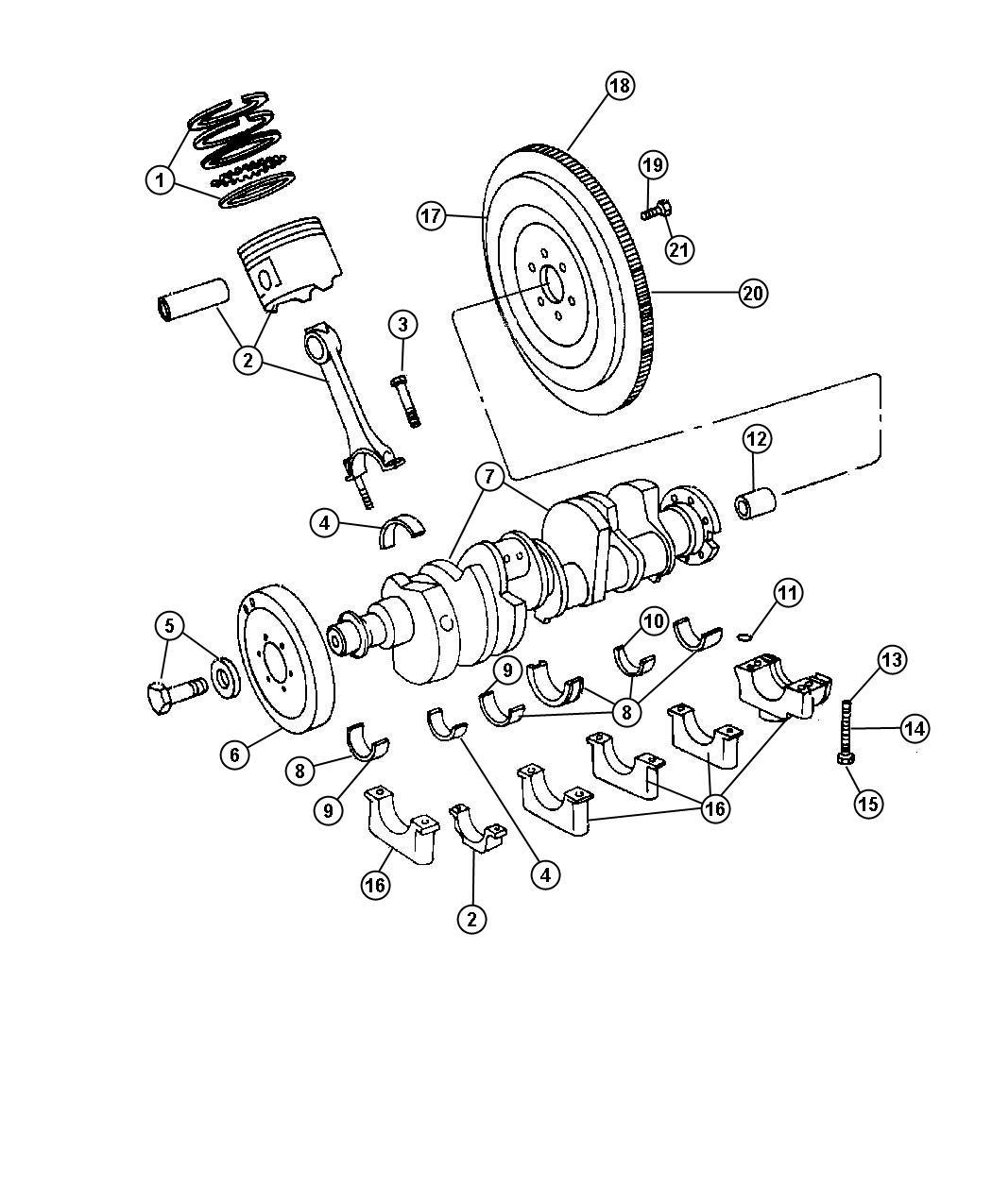 Dodge Ram 1500 Bearing kit, bearing package. Connecting