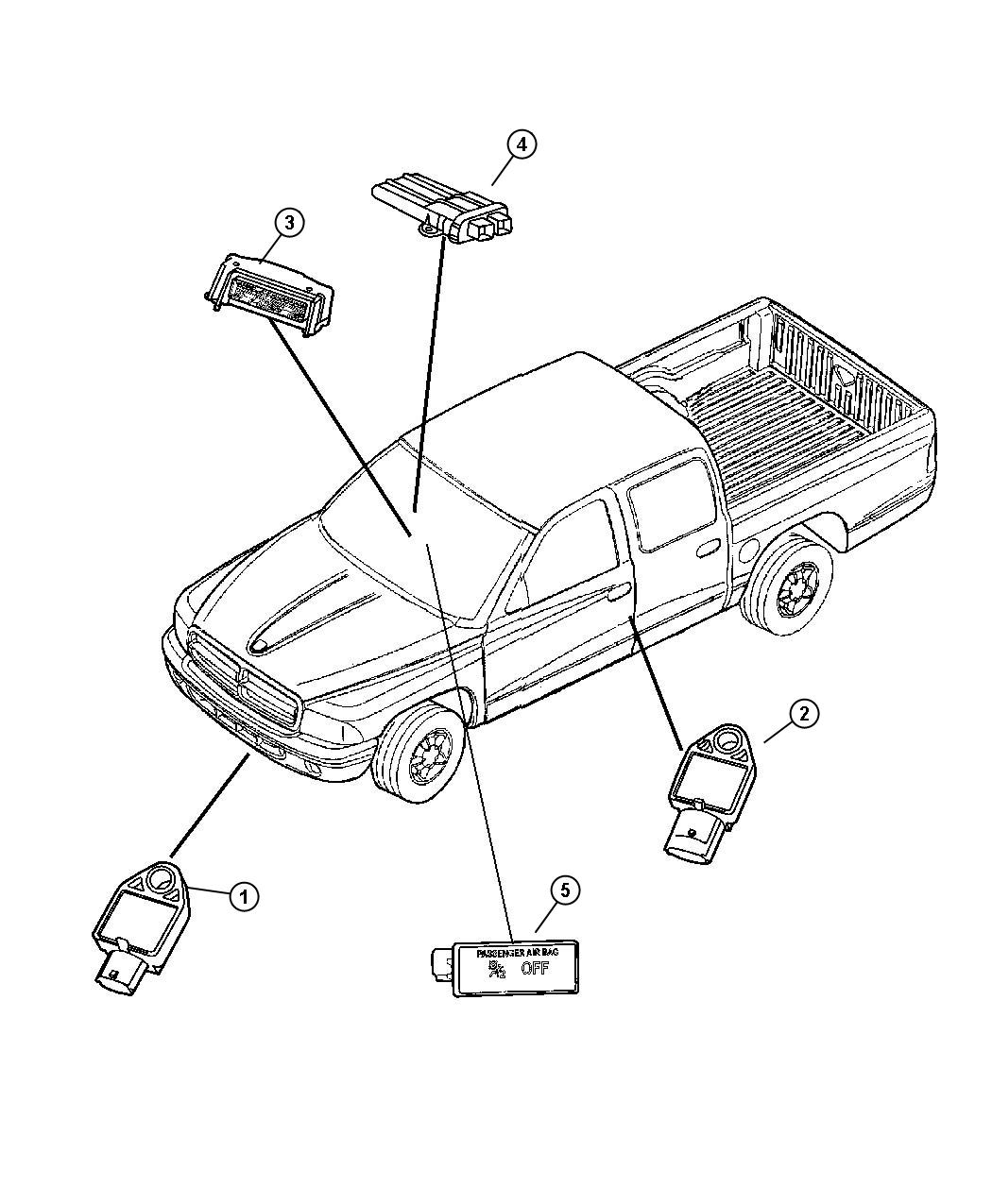 2005 Dodge Grand Caravan Sensor. Air bag, impact, side