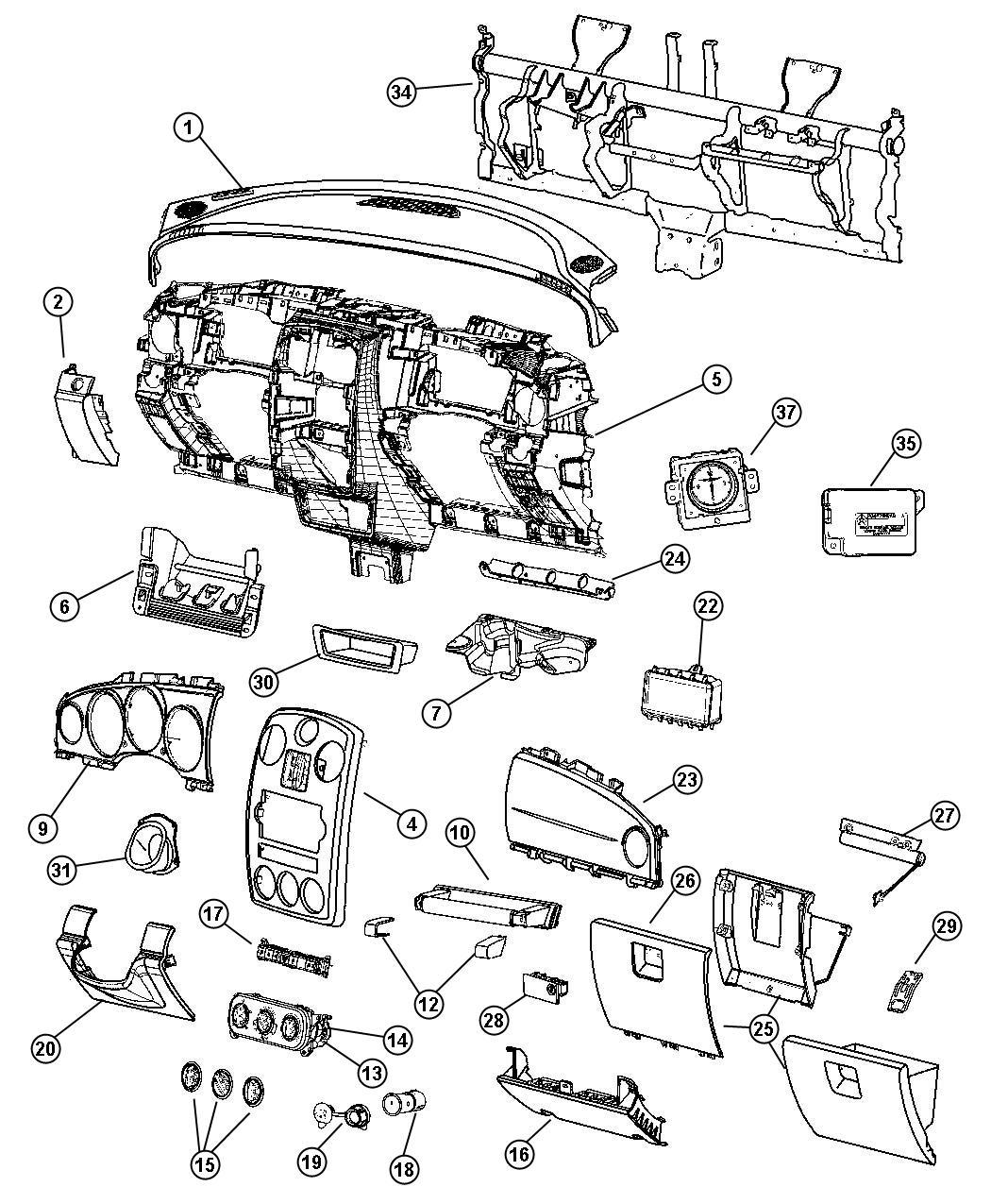 Chrysler Pt Cruiser Door. Glove box. [ka]. Trim: [all trim