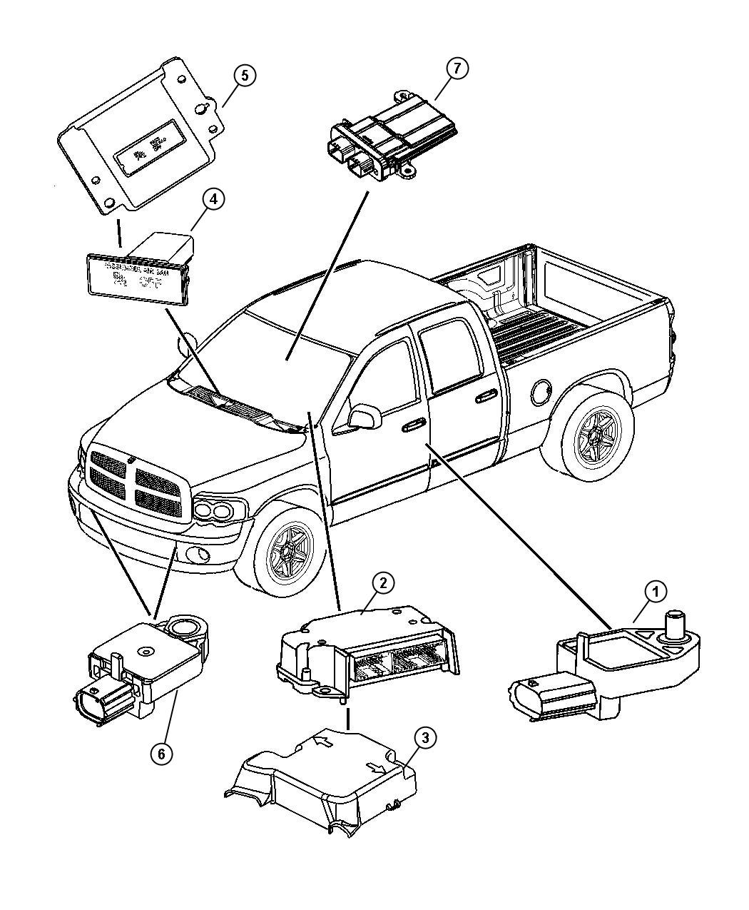 Dodge Ram 1500 Air Bag Modules and Sensors