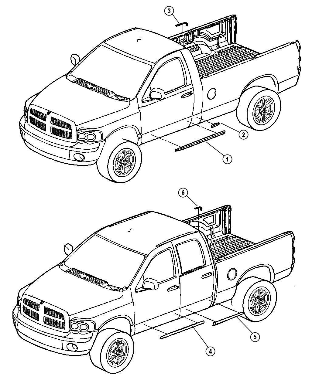 Dodge Ram 1500 Molding. Rear door. Quad. [stripe/badge