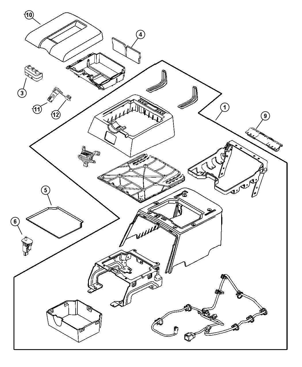 Dodge Ram 1500 Console. Floor. Rear. [j3]. Trim: [leather