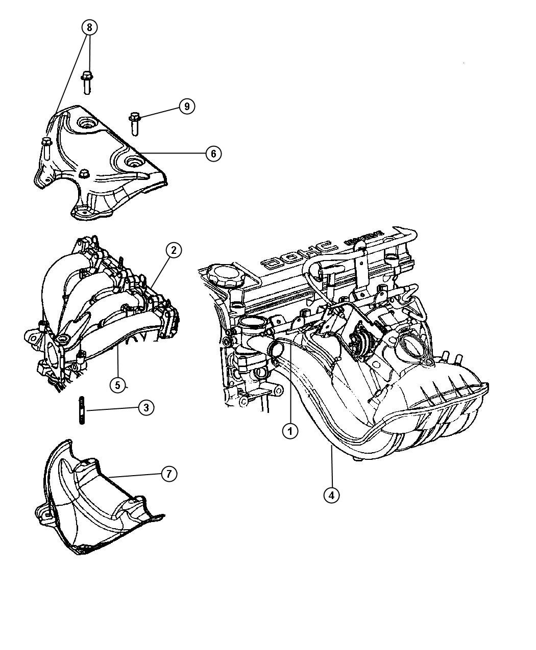 Dodge Stratus Gasket. Exhaust manifold. Exhaust manifold