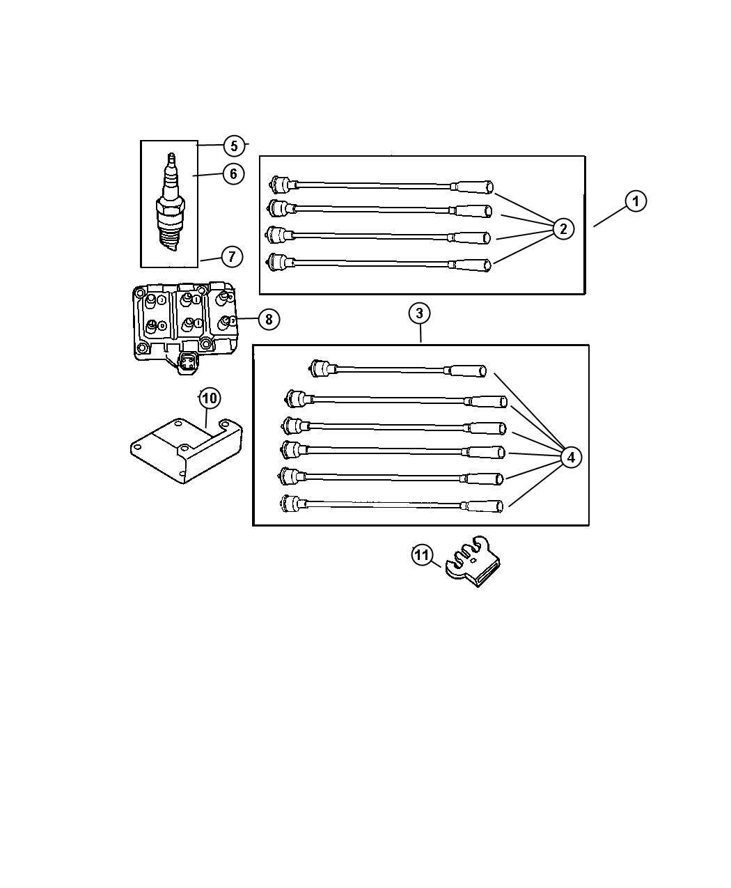 Dodge Caravan Spark plug. Re-14-plp5. Wires