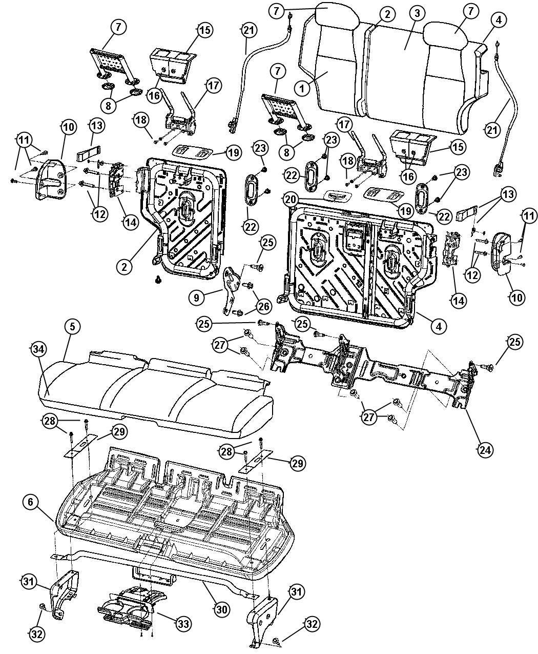 Jeep Grand Cherokee Cover. Rear seat back. [j3]. Trim