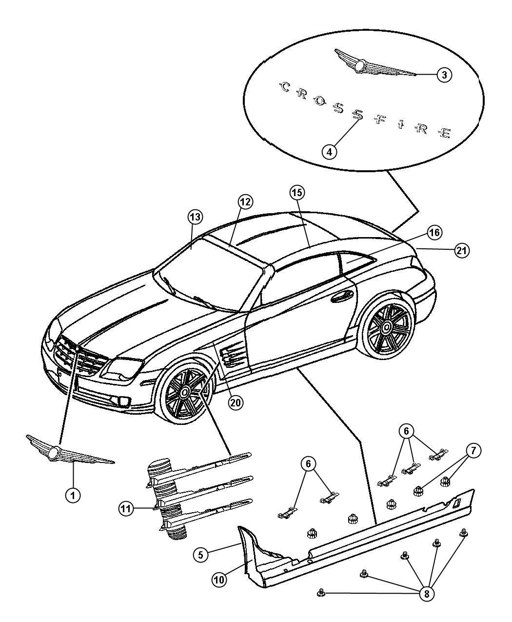 Chrysler Crossfire Molding. Drip rail. Left. [41], [black