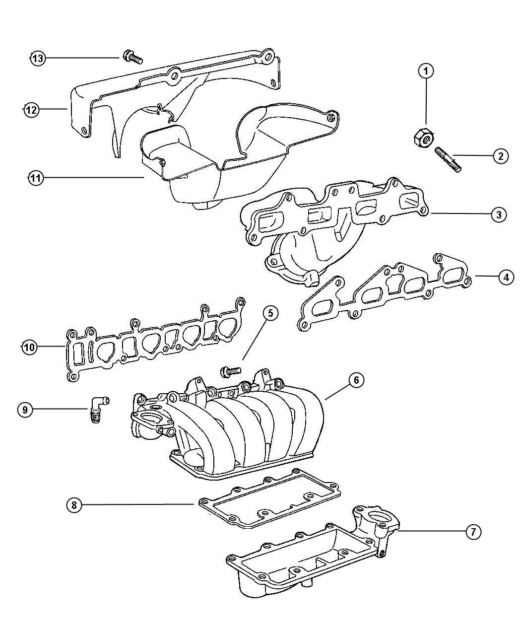 Plymouth Breeze Gasket. Intake manifold. Intake manifold