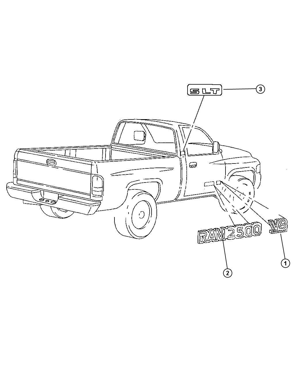 Dodge Ram Nameplate Door V8 Magnum Chrome