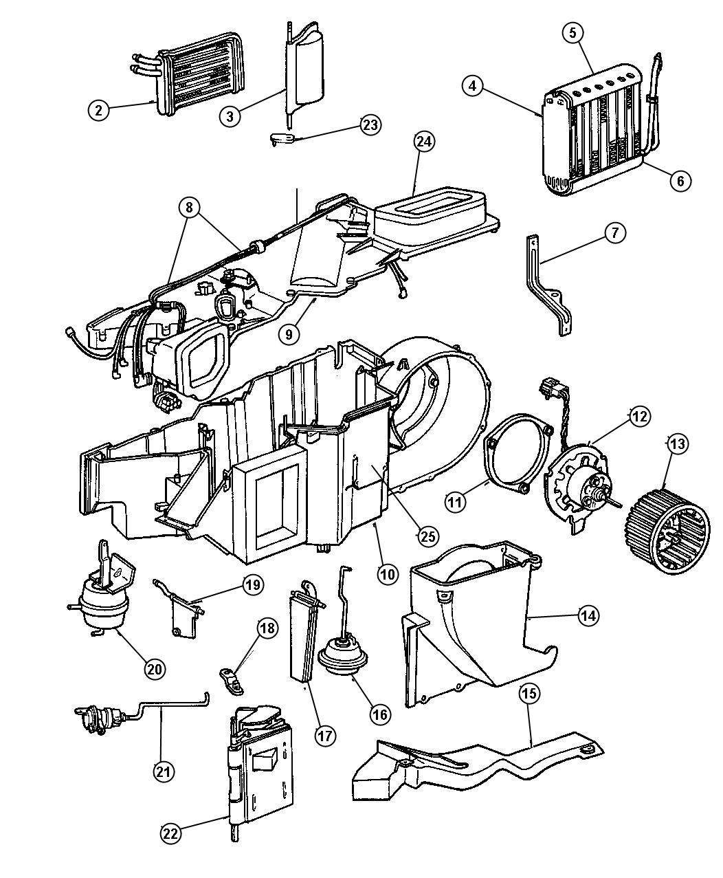 Part Diagram 2000 Dodge Durango Heater Core