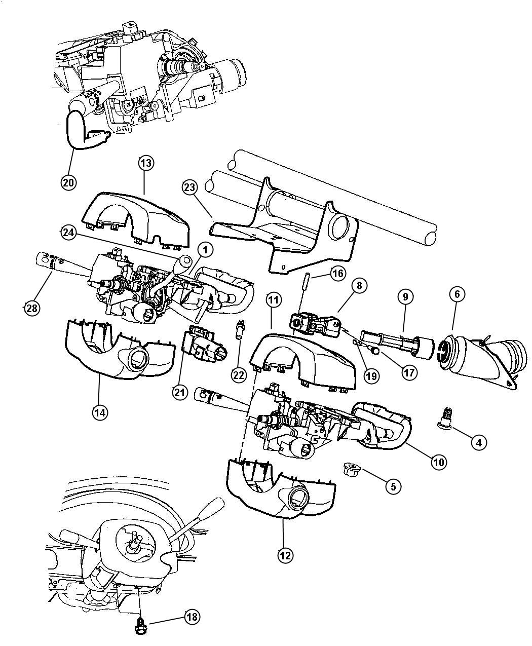 Chrysler Lhs Shroud. Steering column. Lower. Column shift