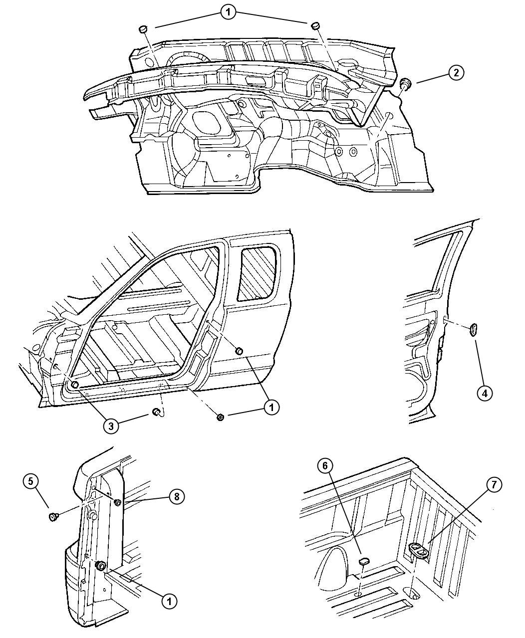 1998 Dodge Durango Plug. Floor pan. Rubber, rubber grommet