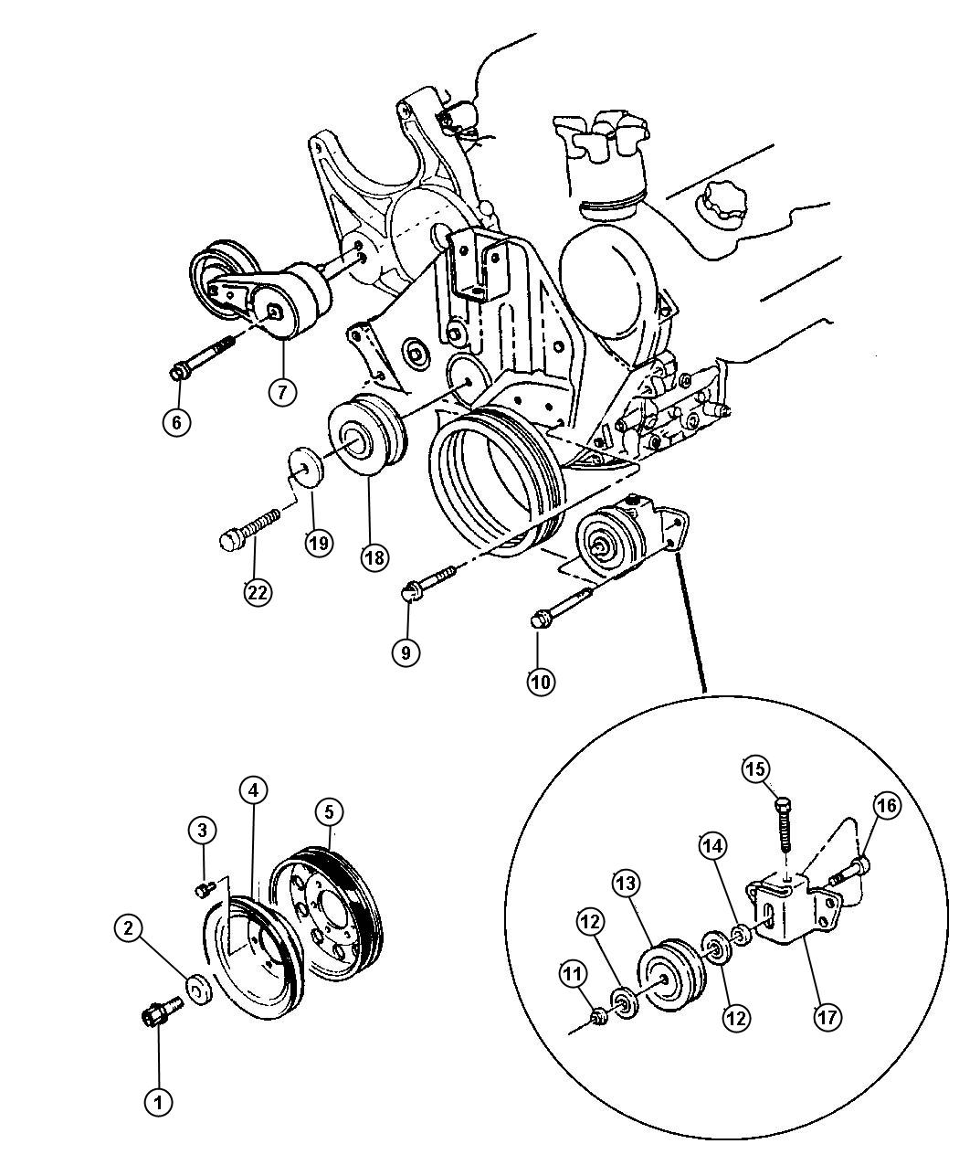 Plymouth Grand Voyager Shield. Pulley. Tensioner, snow