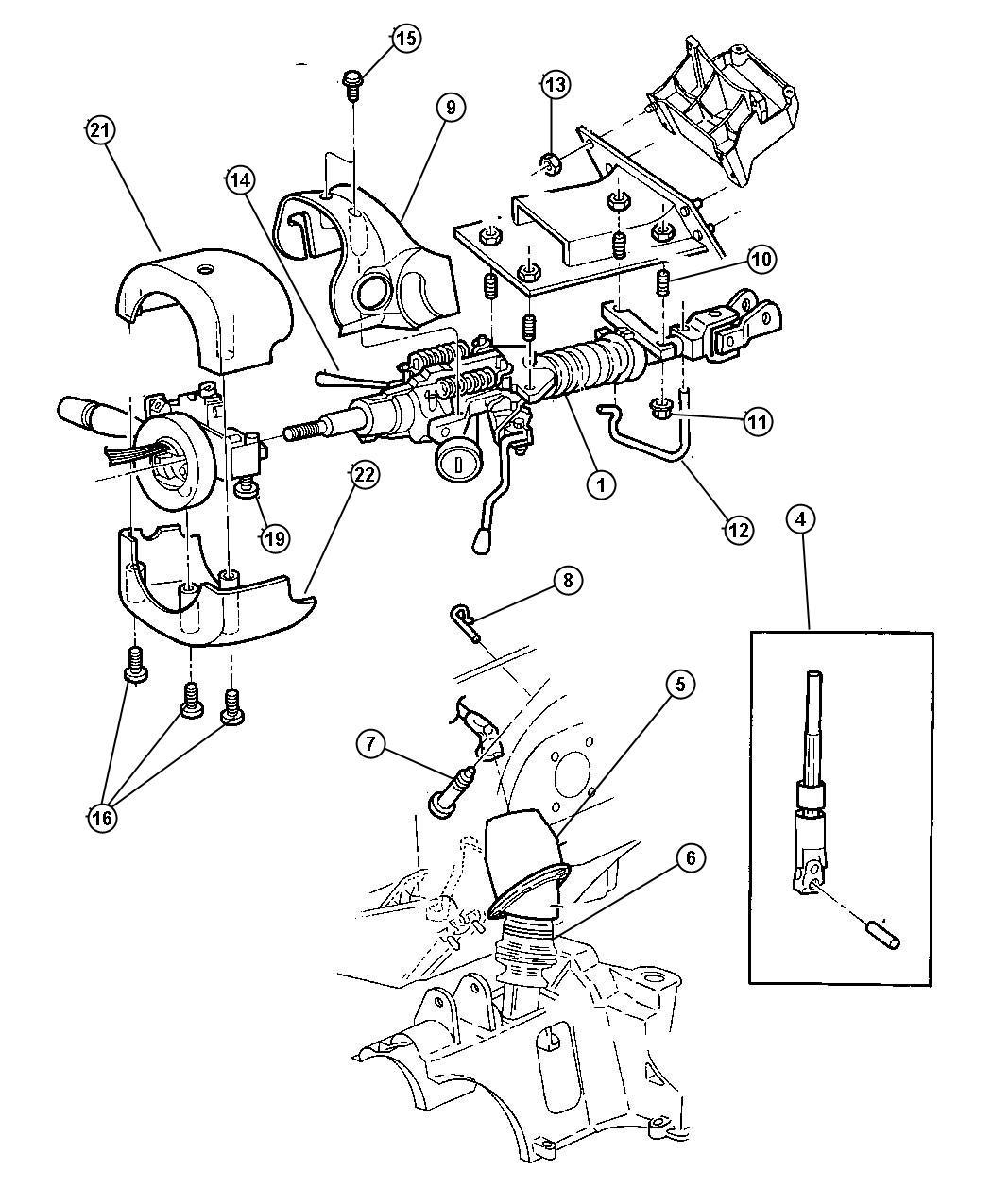 Chrysler Voyager Shroud. Steering column. Fixed w/tilt
