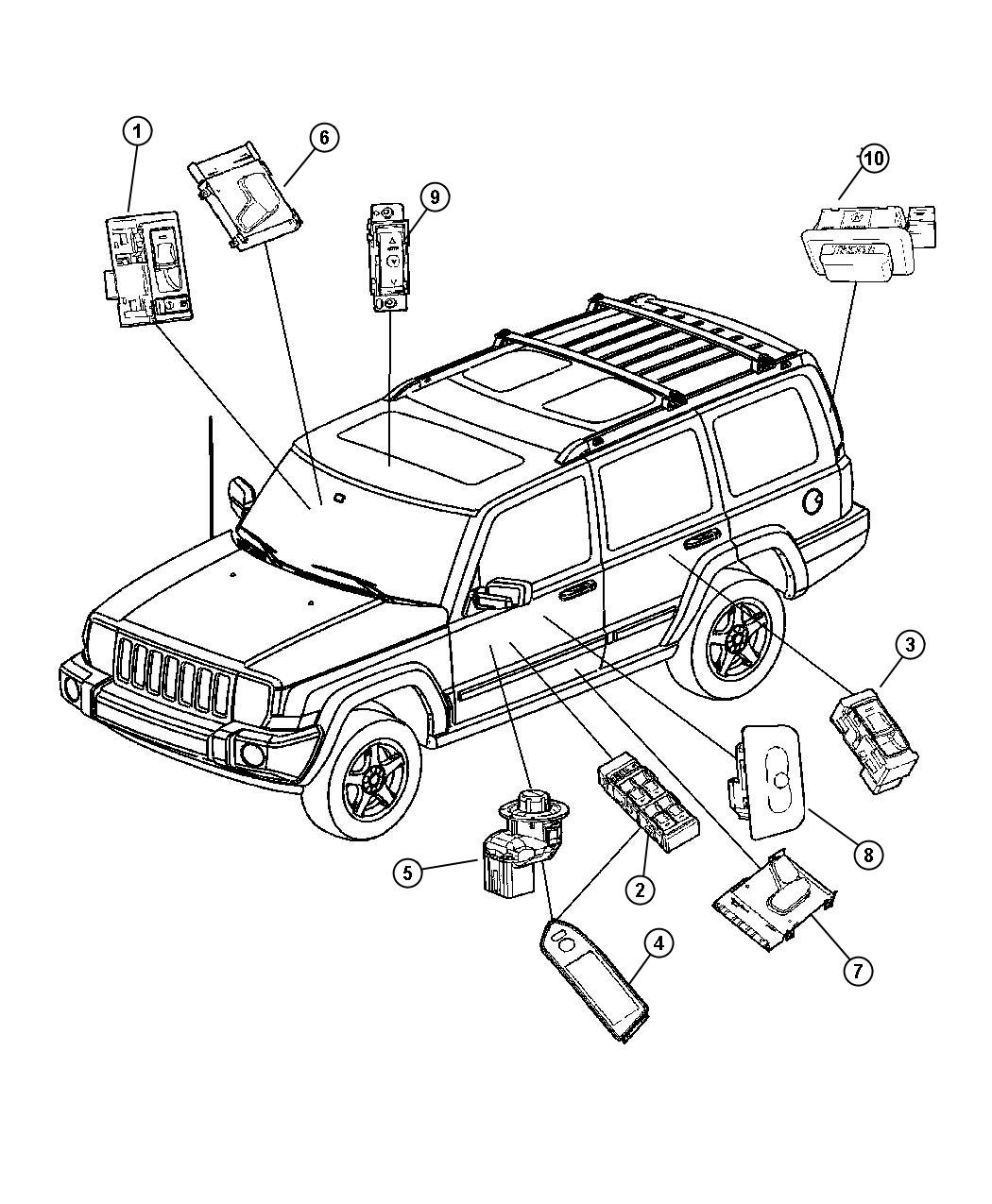 2006 Jeep Commander Bezel. Switch. Right. Trim: [all trim