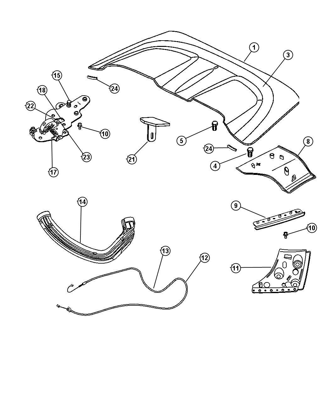 Chrysler Crossfire Seal. Tonneau side flap. Right. Flaps