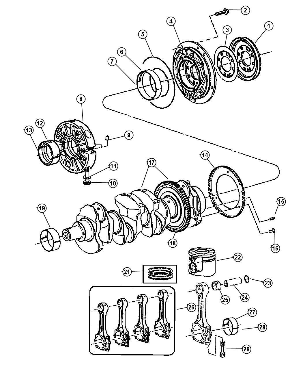 Liberty Crankshaft,Pistons and Related, 2.8L Diesel [2.8L