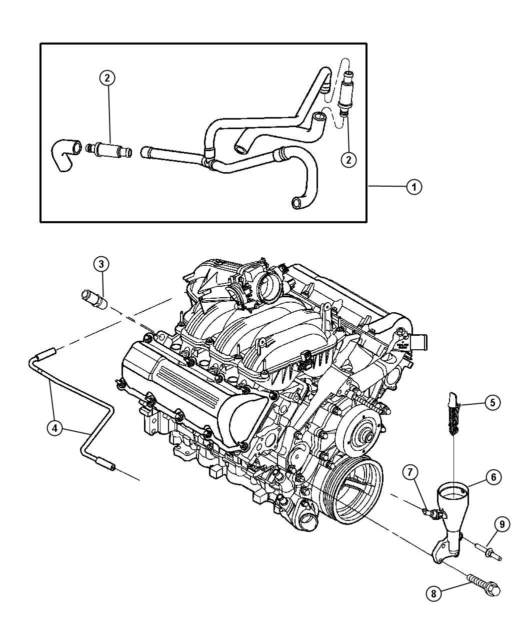 2004 Jeep Liberty Hose. Cylinder head to air cleaner