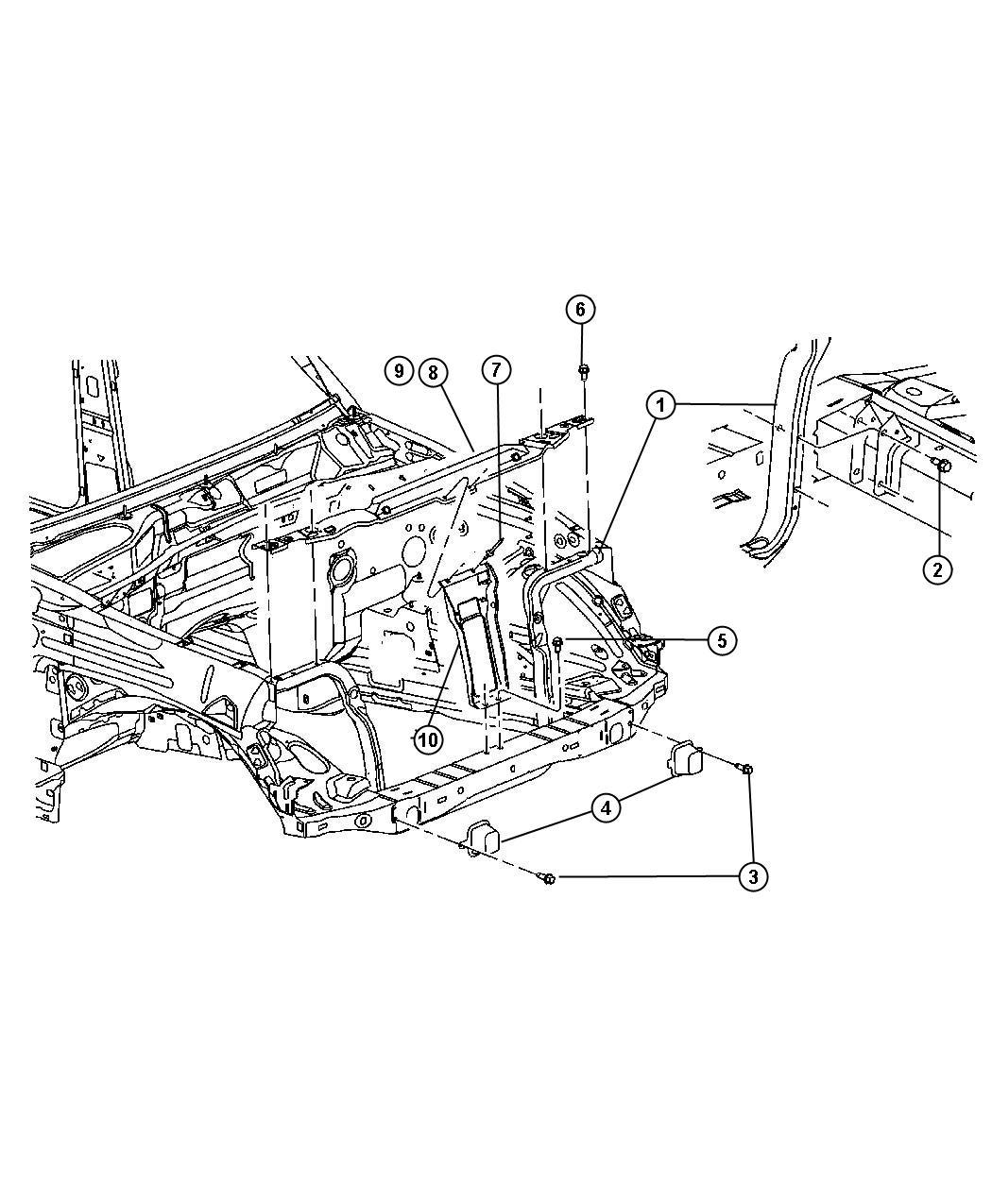 Jeep Liberty Reinforcement. Hood latch. [m], m series