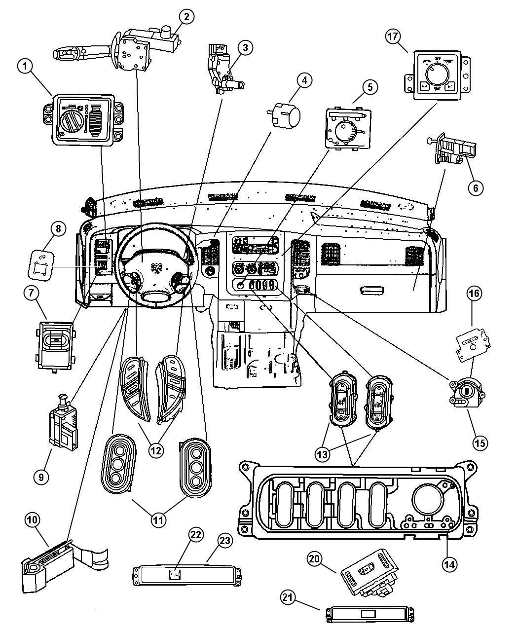 Dodge Ram 1500 Bezel. Switch. [power adjustable pedals