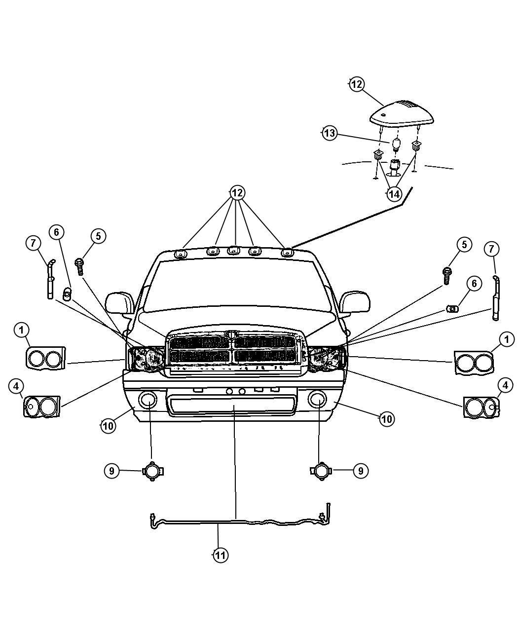 Dodge Ram 1500 Grommet, retainer. Headlamp, headlamp to