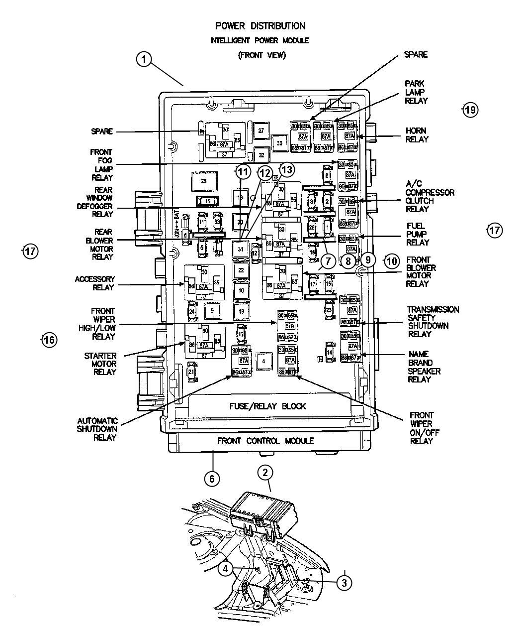 2001 Dodge Power Distribution Center Diagram