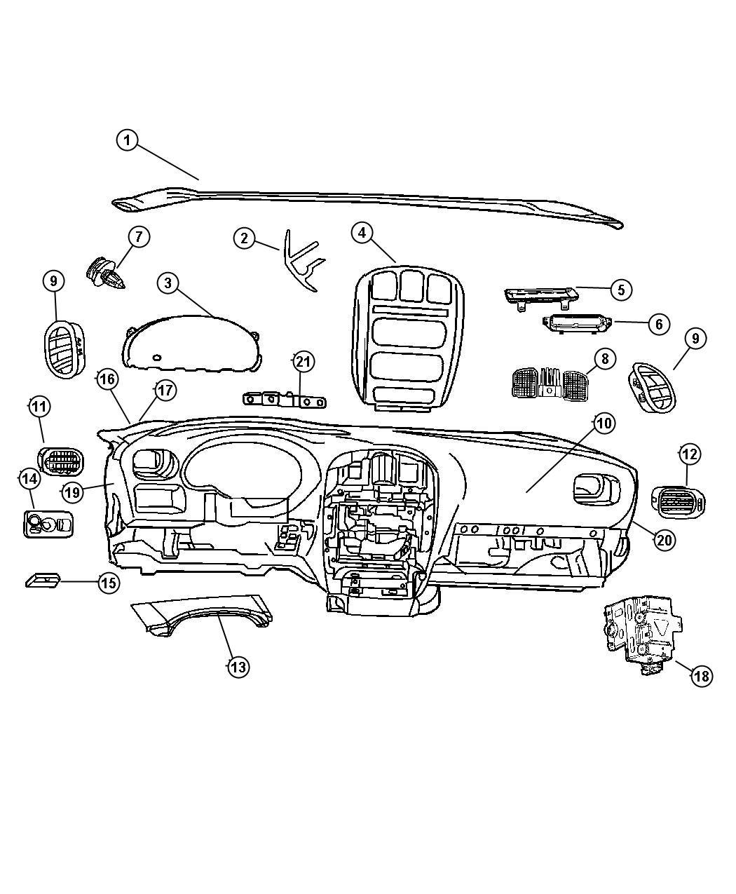 Dodge Grand Caravan Bezel. Instrument panel. Center