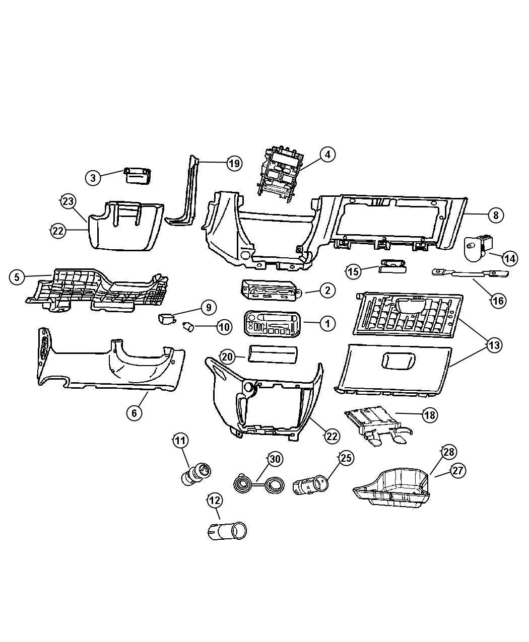 Dodge Grand Caravan Filler Lower Instrument Panel J1